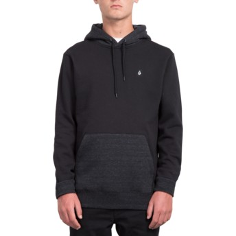 Sweat à capuche noir avec poche Single Stone Black Volcom