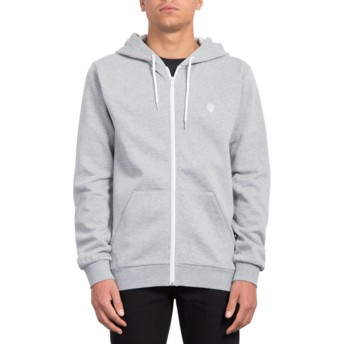 Sweat à capuche et fermeture éclair gris Iconic Heather Grey Volcom