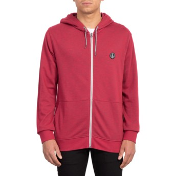 Sweat à capuche et fermeture éclair rouge Litewarp Burgundy Heather Volcom
