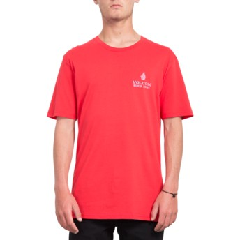 T-shirt à manche courte rouge Peace Is Progess True Red Volcom