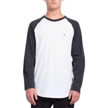 T-shirt à manche longue blanc et noir coupe longue Pen Black Volcom