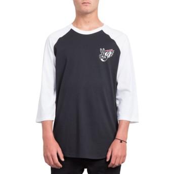 T-shirt à manche 3/4 noir et blanc Winged Peace Black Volcom