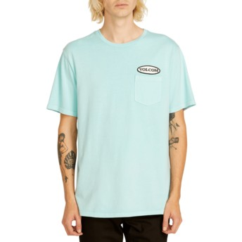 T-shirt à manche courte bleu Oval Patch Pale Aqua Volcom