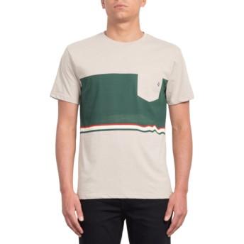 T-shirt à manche courte beige et vert Three Quarter Oatmeal Volcom