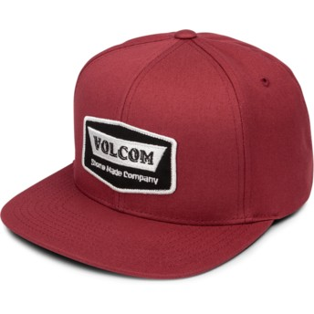 Casquette plate rouge snapback Cresticle Burgundy Volcom
