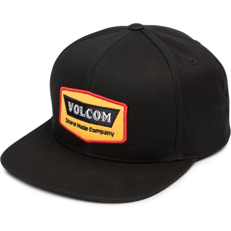 casquette-plate-noire-snapback-cresticle-yellow-volcom