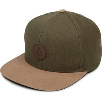 Casquette plate verte snapback avec visière marron Quarter Fabric Army Volcom
