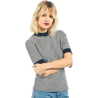 T-shirt à manche courte blanc et noir Midlight Black Volcom