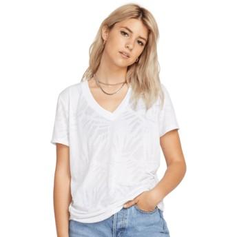 T-shirt à manche courte blanc Geo Arty V-neck White Volcom