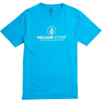 T-shirt à manche courte bleu pour enfant Super Clean Division Cyan Blue Volcom