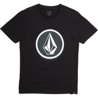 T-shirt à manche courte noir pour enfant Spray Stone Black Volcom