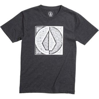 T-shirt à manche courte noir pour enfant Stamp Divide Heather Black Volcom