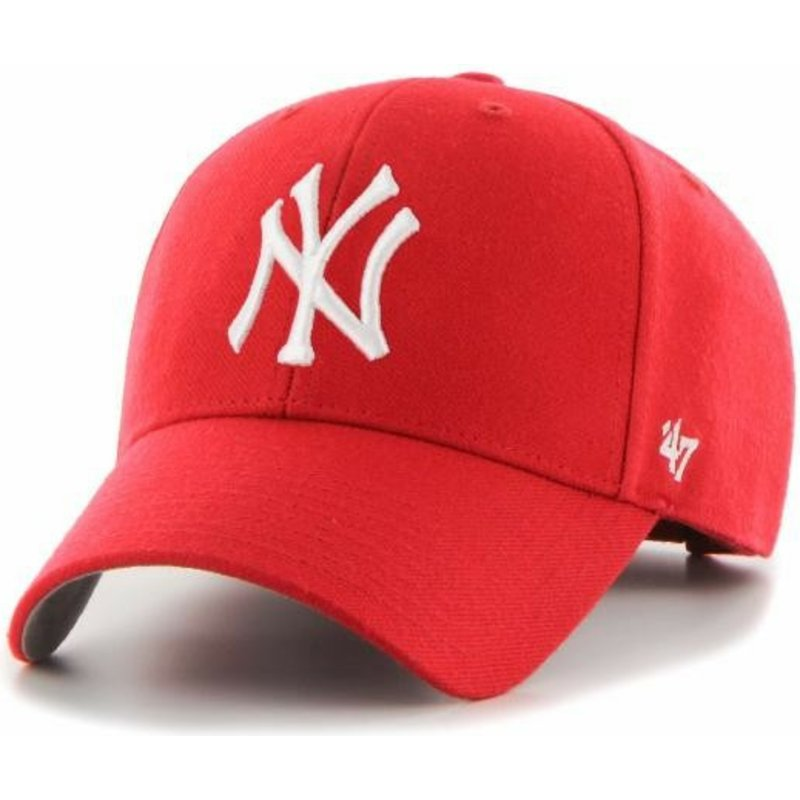 casquette-courbee-rouge-ajustable-pour-enfant-mvp-new-york-yankees-mlb-47-brand