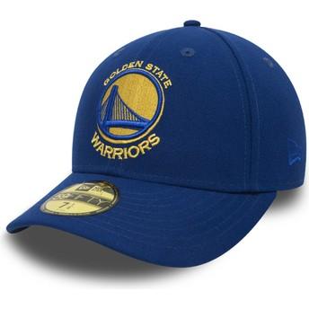 Casquette plate bleue ajustée 59FIFTY Low Profile Classic Golden State Warriors NBA New Era