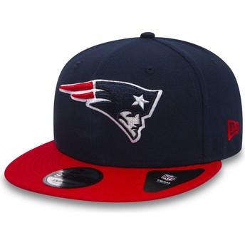 Casquette plate bleue marine snapback avec visière rouge 9FIFTY Team New England Patriots NFL New Era