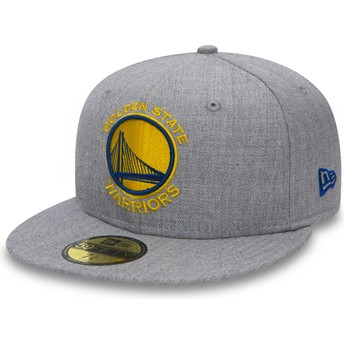 Casquette plate grise ajustée 59FIFTY Heather Golden State Warriors NBA New Era