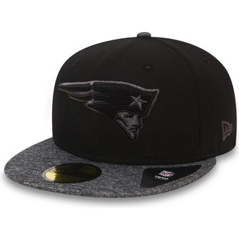 Casquette plate noire ajustée 59FIFTY Grey Collection New England Patriots NFL New Era