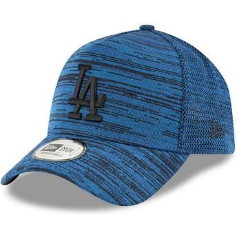 Casquette courbée bleue ajustable avec logo noir 9FORTY A Frame Engineered Fit Los Angeles Dodgers MLB New Era