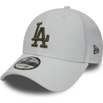 Casquette courbée blanche ajustable avec logo vert 9FORTY Diamond Era Los Angeles Dodgers MLB New Era