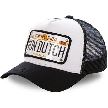 Casquette trucker blanche et noire avec plaque California CAL1 Von Dutch