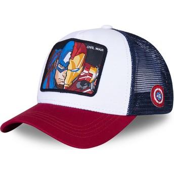 Casquette trucker blanche, bleue marine et rouge Captain America et Iron Man Civil War WAR1 Marvel Comics Capslab