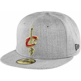 Casquette plate grise ajustée 59FIFTY Heather Cleveland Cavaliers NBA New Era