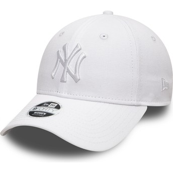 Casquette courbée blanche ajustable avec logo blanc 9FORTY League Essential New York Yankees MLB New Era
