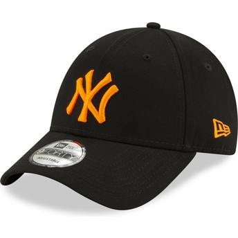 Casquette courbée noire ajustable avec logo orange 9FORTY League Essential Neon New York Yankees MLB New Era
