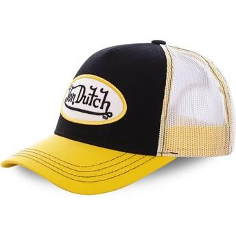 Casquette trucker noire et jaune COL BLA Von Dutch