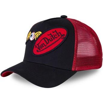Casquette trucker noire et rouge DBLPAT Von Dutch