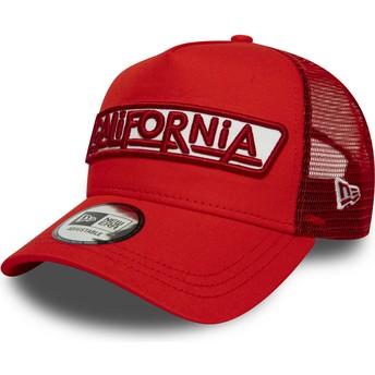 Casquette trucker rouge A Frame USA Patch California New Era