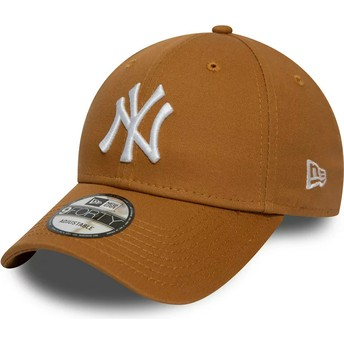 Casquette courbée marron wheat ajustable 9FORTY League Essential New York Yankees MLB New Era