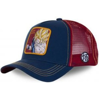 Casquette trucker bleue marine et rouge Son Goku Super Saiyan SAY1 Dragon Ball Capslab