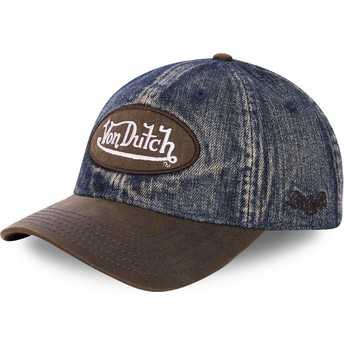 Casquette courbée bleue denim et marron ajustable JEAN1 Von Dutch
