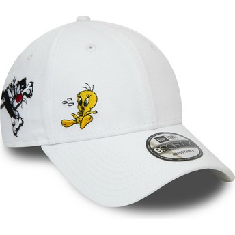 Casquette courbée blanche ajustable 9FORTY Sylvestre et Titi Looney Tunes Chase New Era