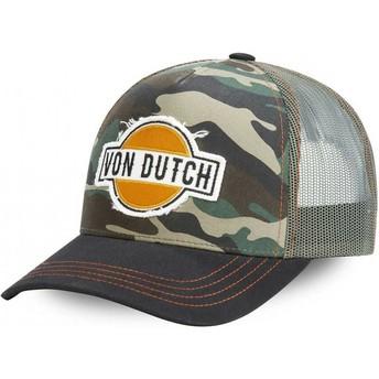 Casquette trucker camouflage et noire CAM Von Dutch