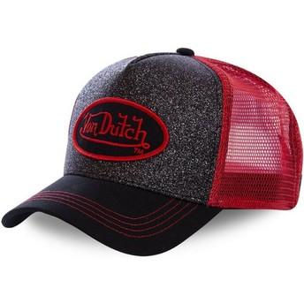 Casquette trucker noire et rouge FLAK RED Von Dutch