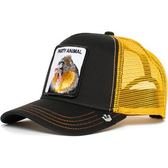 Casquette trucker noire et jaune singe Party Animal Goorin Bros.