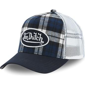 Casquette trucker blanche et bleue à carreaux CAR A5 Von Dutch