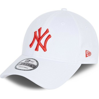 Casquette courbée blanche ajustable avec logo rouge 9FORTY League Essential New York Yankees MLB New Era