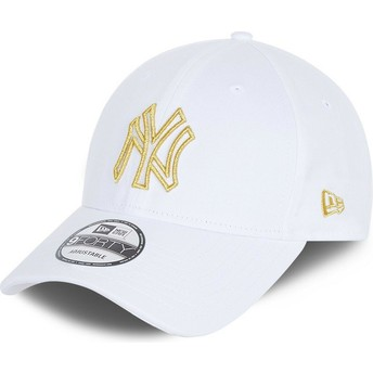 Casquette courbée blanche ajustable 9FORTY Metallic Logo New York Yankees MLB New Era