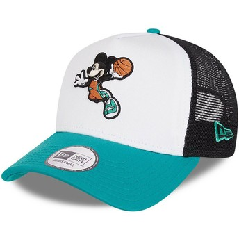 Casquette trucker blanche, noire et bleue Character Sports A Frame Mickey Mouse Basketball Disney New Era