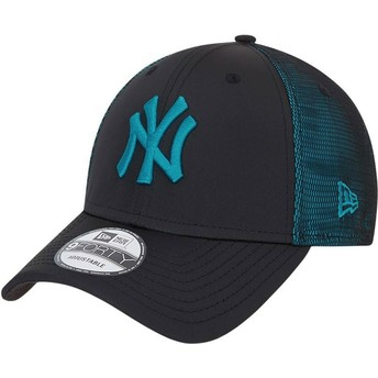 Casquette courbée noire et bleue ajustable avec logo bleu 9FORTY Mesh Underlay New York Yankees MLB New Era