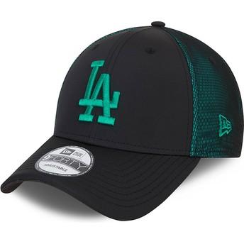 Casquette courbée noire et verte ajustable avec logo vert 9FORTY Mesh Underlay Los Angeles Dodgers MLB New Era