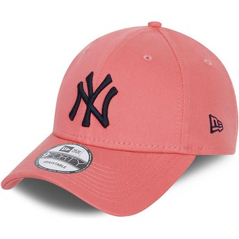 Casquette courbée rose ajustable avec logo noir 9FORTY League Essential New York Yankees MLB New Era