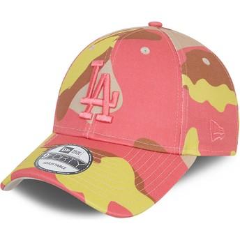 Casquette courbée camouflage rose ajustable avec logo rose 9FORTY Los Angeles Dodgers MLB New Era