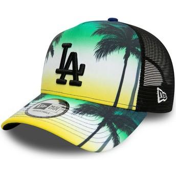 Casquette trucker verte avec logo noir A Frame Summer City Los Angeles Dodgers MLB New Era
