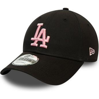 Casquette courbée noire ajustable avec logo rose 9FORTY League Essential Los Angeles Dodgers MLB New Era