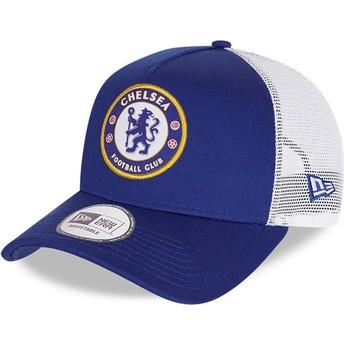 Casquette trucker bleue Cotton A Frame Chelsea Football Club New Era