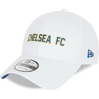 Casquette courbée blanche ajustable 9FORTY Cotton Wordmark Chelsea Football Club New Era